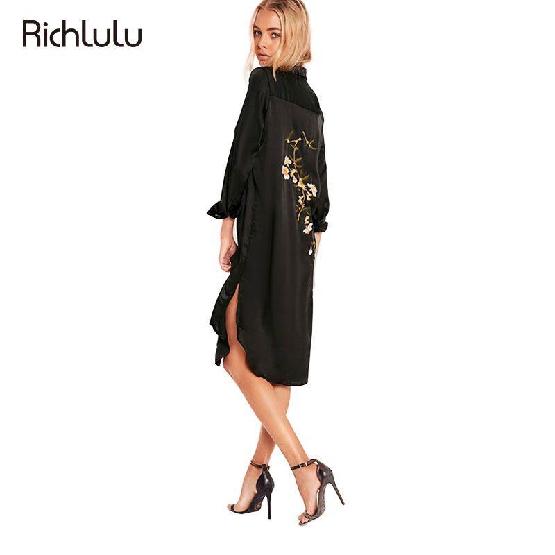 Richlulu одежда обратно цветочный платье с вышивкой женская одежда Повседневное свободные стороны Разделение женский Vestido Сексуальная летняя ...