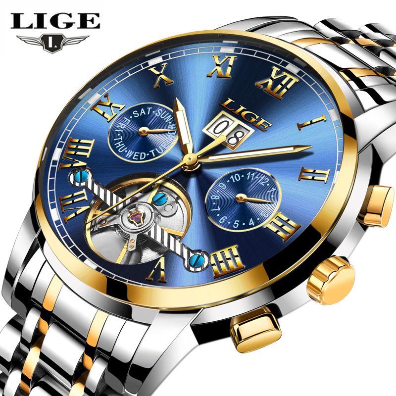 Relogio masculino LIGE Herren Uhren Top Brand Luxus Mode-Business Automatische Uhr Männer Voller Stahl Wasserdichte Uhr Armbanduhr