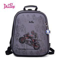 Высокое качество Delune 2019 мультфильм детский школьный рюкзак для мальчиков ортопедический рюкзак Детская школьная сумка мотоцикл безопасны...