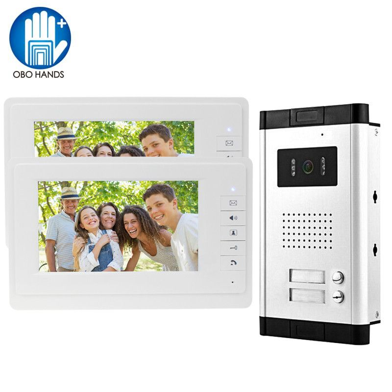 Home Security 7'' Color Video Door Phone Intercom System with Outdoor Camera with Two Buttons for Multi Apartment Free Shipping