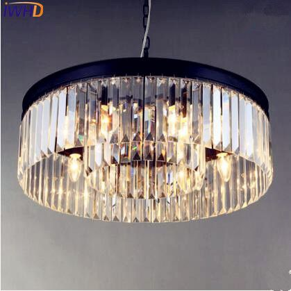 IWHD American Country Nordic Crystal LED Pendant Lights Fixtures Home Lighting Dinning Room Handling Light Lustres De Cristal