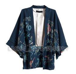 Musim panas Biru Floral Phoenix Kimono Yukata Jepang Wanita Batwing Lengan Mantel Tahan Dr