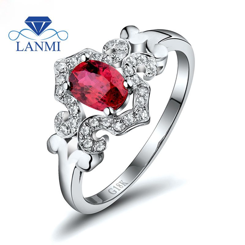 Fashion Beauty Jewelry Oval 5x7mm Ruby With Natural Dia In Solid 18Kt White Gold Engagement Ring WU256