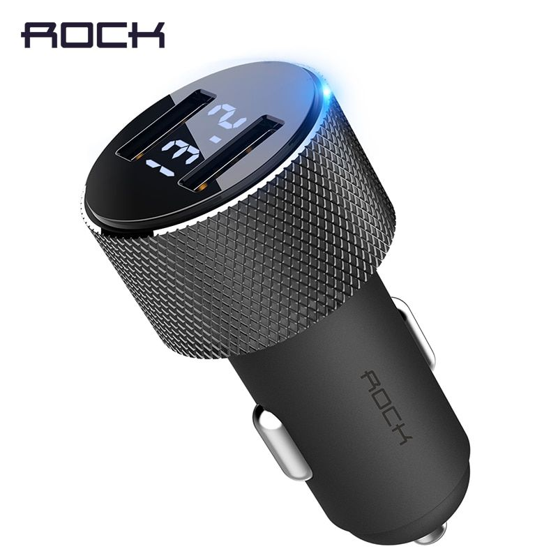 LCD Digital Display Dual USB Car-Charger, ROCK Universal 3.4A LED 2 USB Car Charger adapter for Mobile Phones for Tablet PC