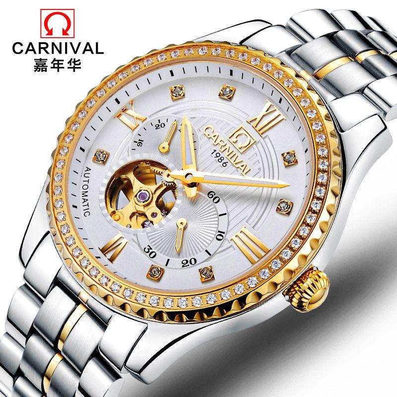 CARNIVAL New Luxury Dress Men Automatic Mechanical Watches Stainless Steel Waterproof Hollow Diamond Men Wristwatch reloj hombre