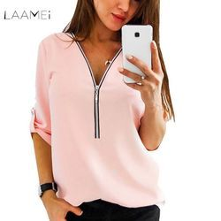 Laamei 2018 New Summer Fashion Women Shirts Elegant Short Sleeve Sexy V Neck Zipper Casual Tee Shirts Tops Female Clothing