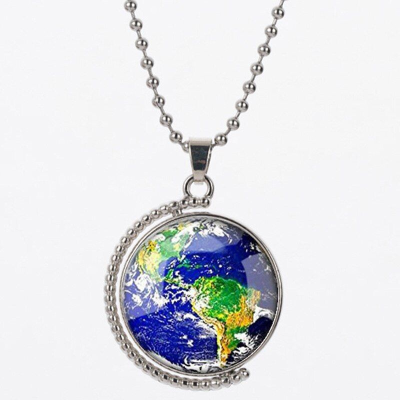 LVS2 for NLNL 925 Silver earth Pendant White Horse Unicorn Necklace Unicorn Jewelry earth Shaped Sweater Chain