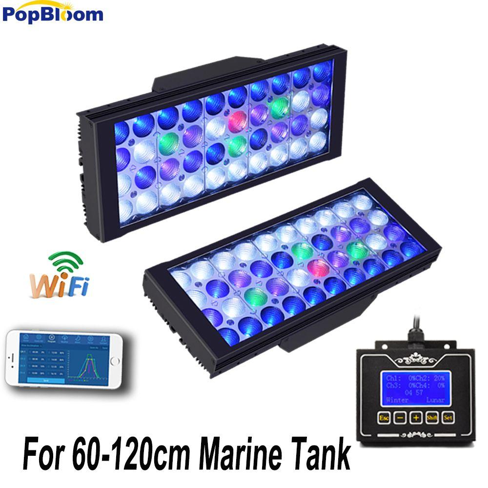 PopBloom 2 PCS 165 W Led Aquarium Licht für 120 CM Marine Korallenriff Aquarium Led Beleuchtung Dimmbar Sunrise Sunset MJ3BW2