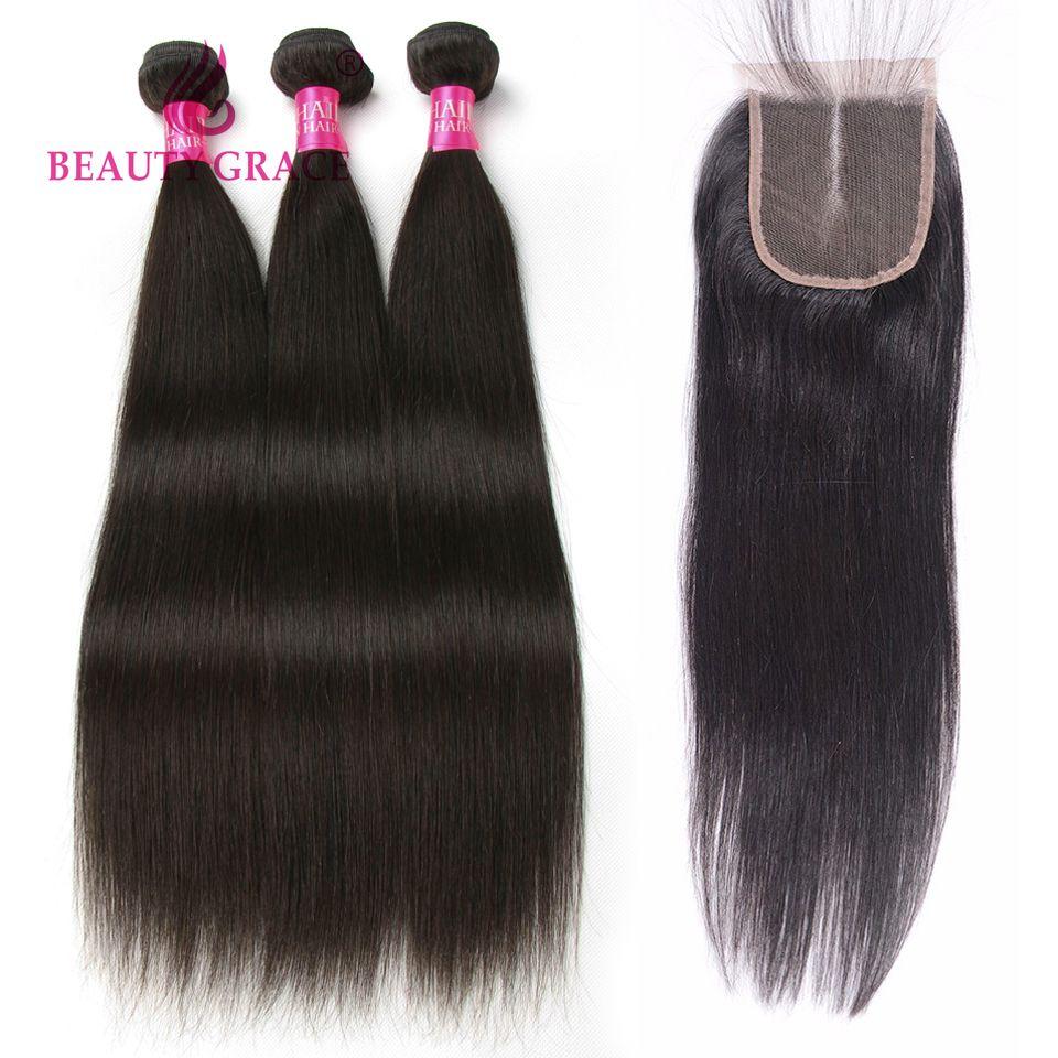 Beauty Grace Hair Brazilian Straight Hair Bundles 3 pcs Natural Color Non Remy 100% Human Hair Bundles With Closure