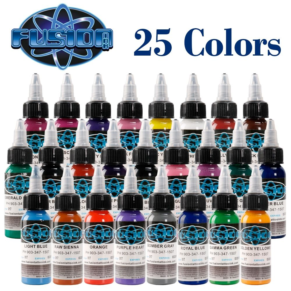 25Pcs Tattoo Ink Fusion tattoo inks 25 Colors Set 1 oz 30ml/Bottle Tattoo Pigment Kit for 3D makeup beauty skin body art.