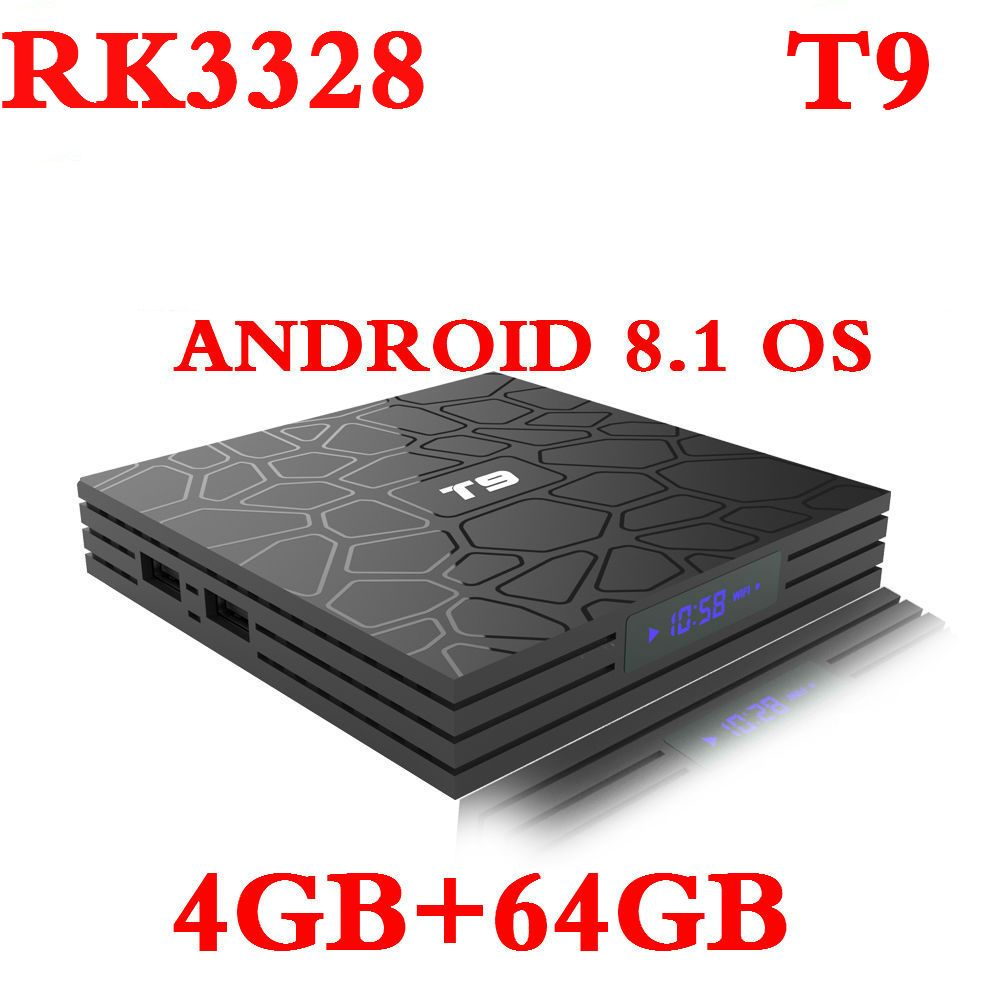 2018 4G/64G Smart TV Box Android 8.1 T9 4K RK3328 QuadCore 4G/32G USB3.0 Set Top TV Box Option 2.4G/5G Dual WIFI Media Player