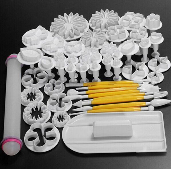 New 46Pcs/set Fondant Cake Decorating Sugarcraft Plunger Cutter Tools Mold Cookies <font><b>full</b></font> set mold