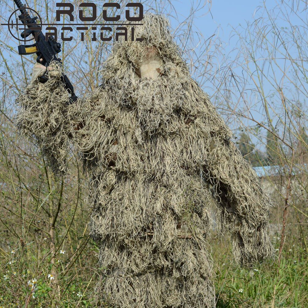 ROCOTACTICAL Lightweight Washable Sniper Ghillie Suit Tactical Camouflage Suit For Military Hunting Airsoft Paintball Woodland