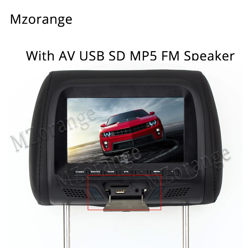7 inch TFT LED Screen Pillow Monitor General Car Headrest Monitor Beige/Gray/Black color AV USB SD MP5 FM Speaker