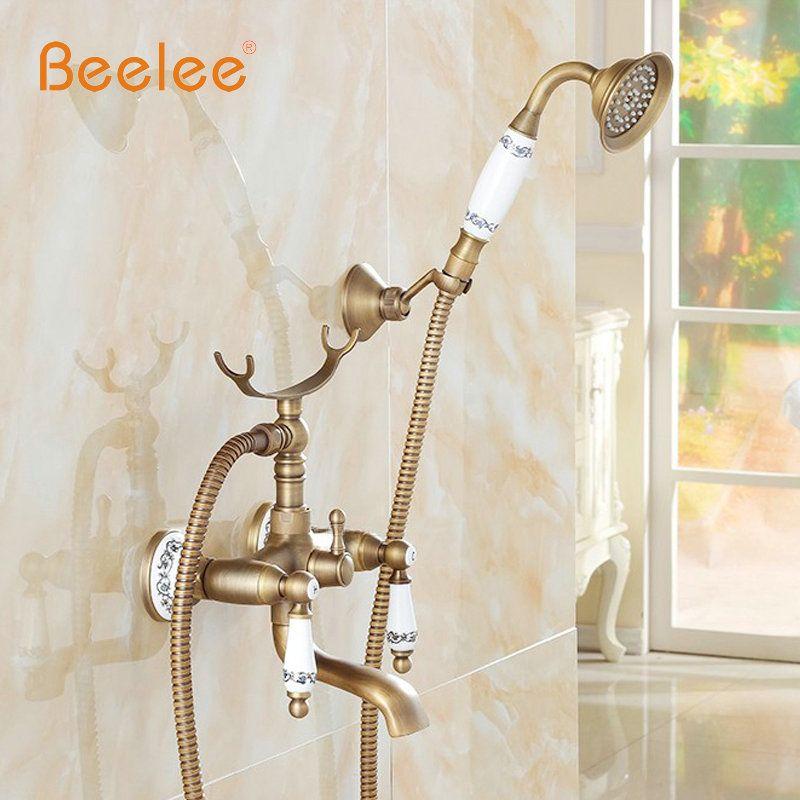 Classique Antique Style salle de bain baignoire et douche robinets modèle en céramique à main douche tête mural mélangeur robinet livraison gratuite