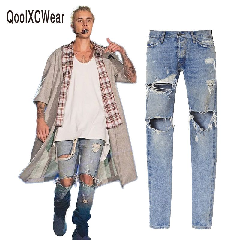 kanye west denim jeans designer clothes rockstar justin bieber ankle zipper destroyed skinny ripped jeans for men fear of god