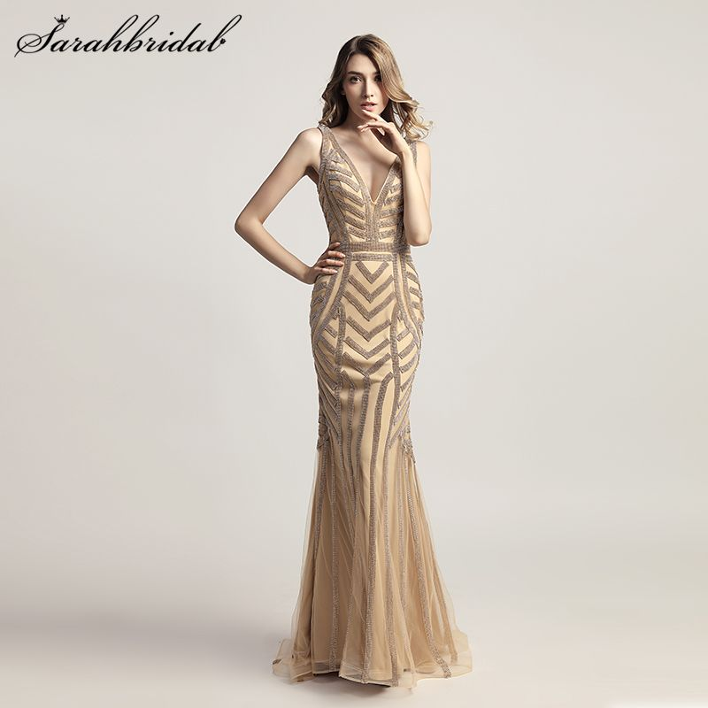 Robe De Soiree New Luxury Styles Elegant Long Mermaid Evening Dresses 2018 Crystal Party Gowns Formal Vestido De Festa  LSX476