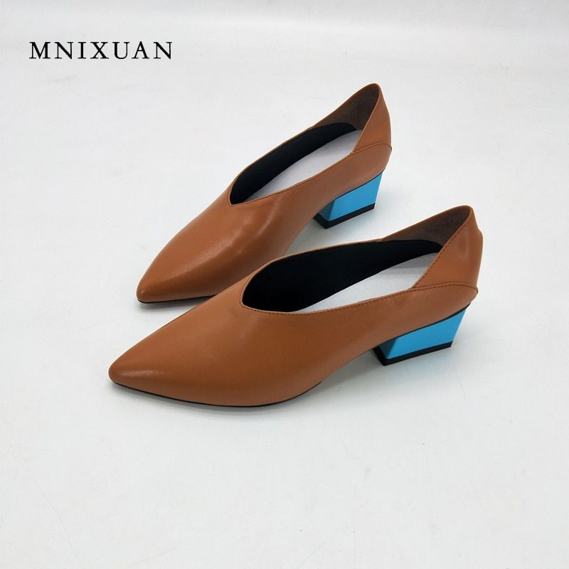 MNIXUAN 2018 spring new handmade women shoes pumps 3cm genuine leather pointed toe thick medium heels office big size 41 42 43
