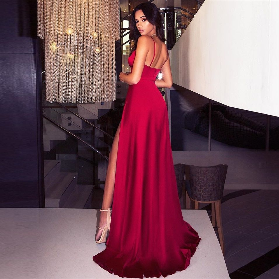 Sexy Backless Split Front Summer Floor Length Dress Deep V Neck Party Dress Red Satin Sleeveless Padded Dress
