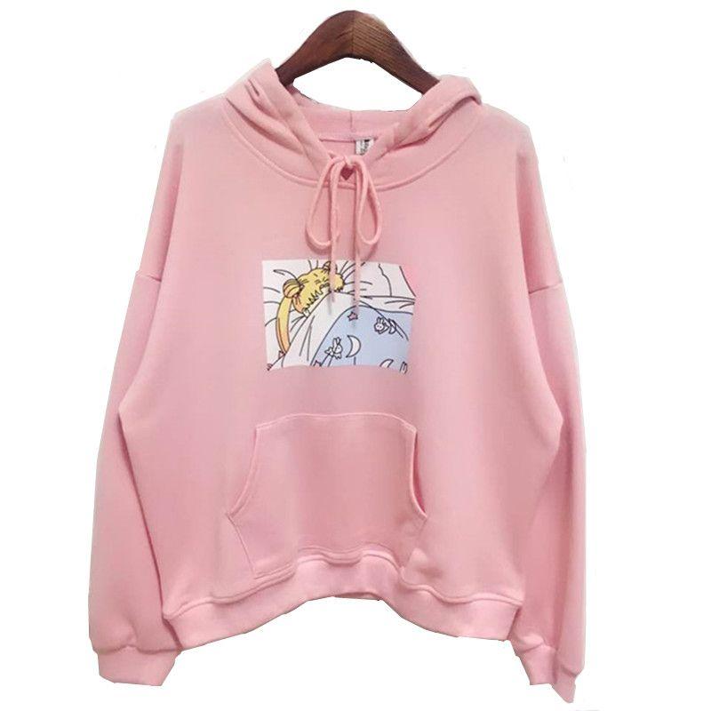 2017 new Pink/White Women Hoodies Japanese Sailor <font><b>Moon</b></font> Printed Pullover Girls Kawaii Cute Harajuku Sweatshirt Loose Full sleeve