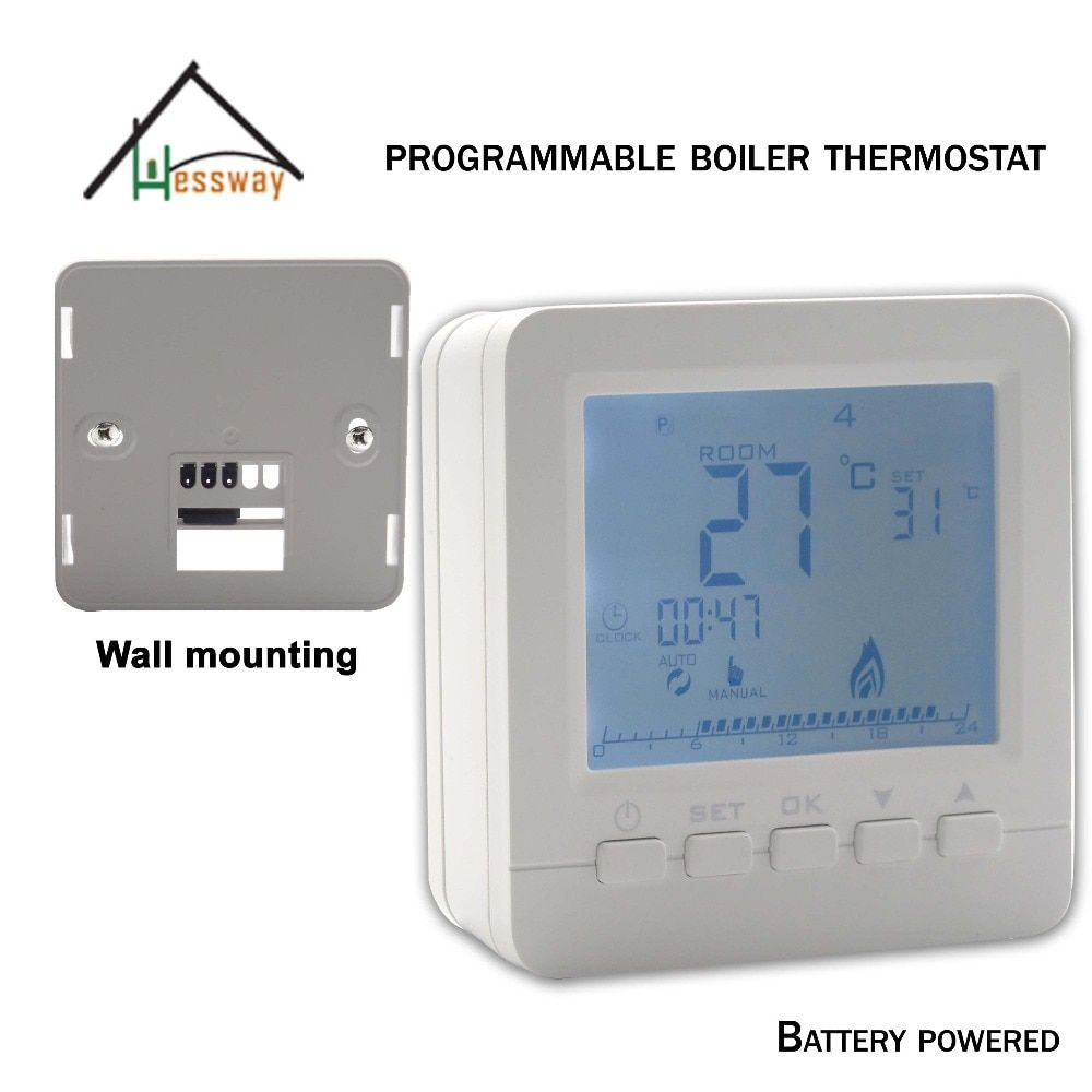 Weekly Programmable Room Wall Mounted Boiler Thermostat Battery powered for dry contact relay