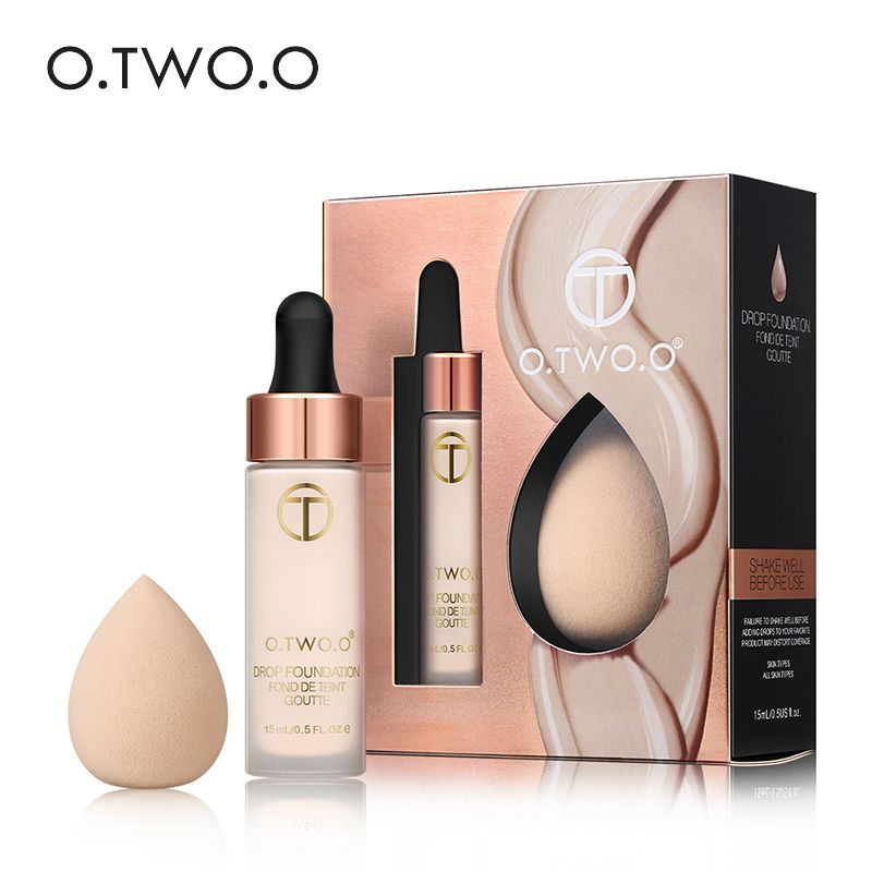 O.TWO.O Face BB Cream Oil Control Base Liquid Foundation with Egg Sponge Puff Concealing Long Lasting Moisturizing Whitening