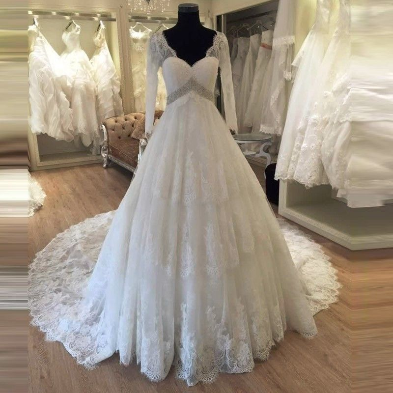 vinca sunny Maternity Wedding Dresses for Pregnant 2018 Long Sleeve vestido de noiva Crystal trouwjurk long robe de mariage