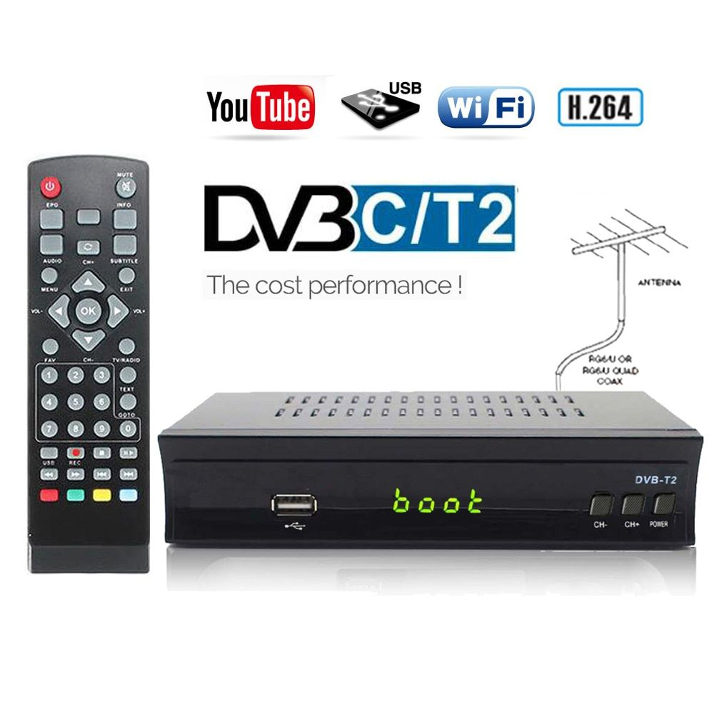 HD DVB-C DVB-T2 Receiver Satellite Wifi Free Digital TV Box DVB T2 DVBT2 Tuner DVB C IPTV M3u Youtube Russian Manual Set Top Box
