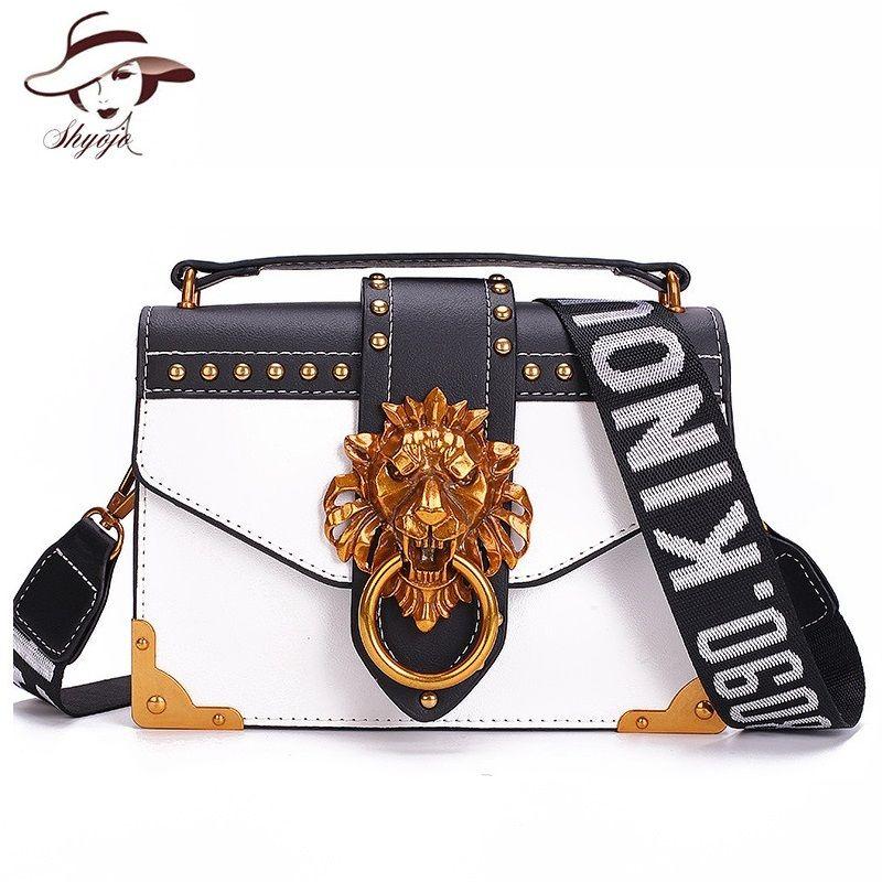 Mode métal tête de Lion Mini petit Pack carré sac à bandoulière paquet bandoulière embrayage femmes Designer portefeuille sacs à main Bolsos Mujer