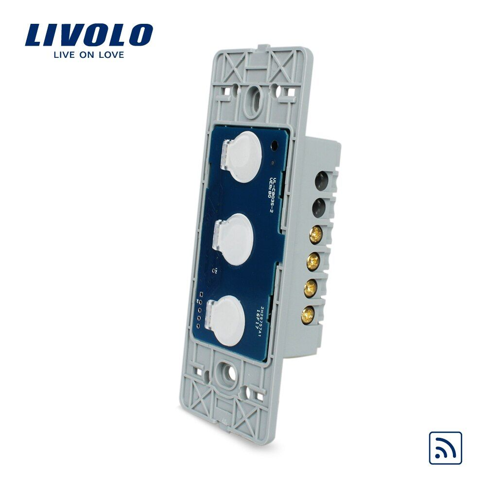 Livolo US standard Wall Light Remote Touch Switch Base board , 3gang 1 Way,Without Crystal Glass Panel, VL-C503R