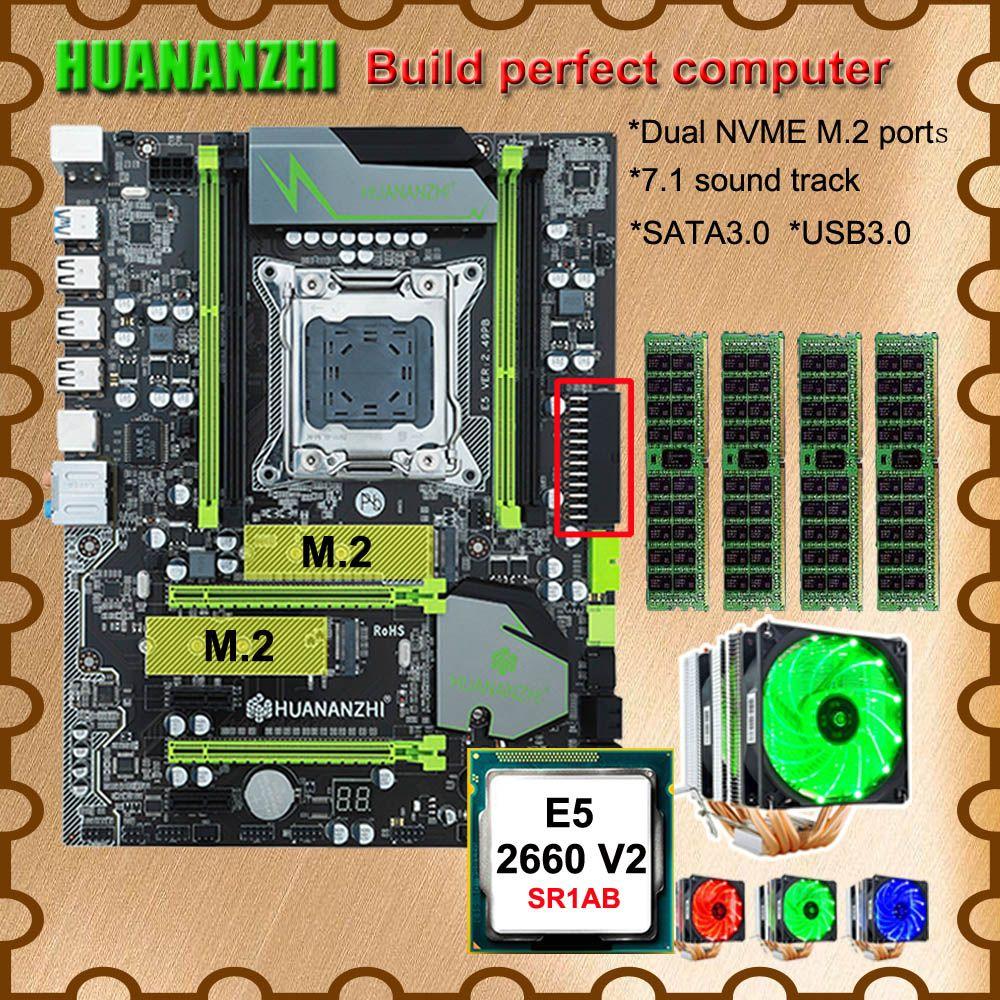 Computer DIY HUANANZHI X79 Pro motherboard mit DUAL M.2 NVMe SSD slot CPU Intel Xeon E5 2660 V2 6 rohre kühler RAM 32G (4*8G)