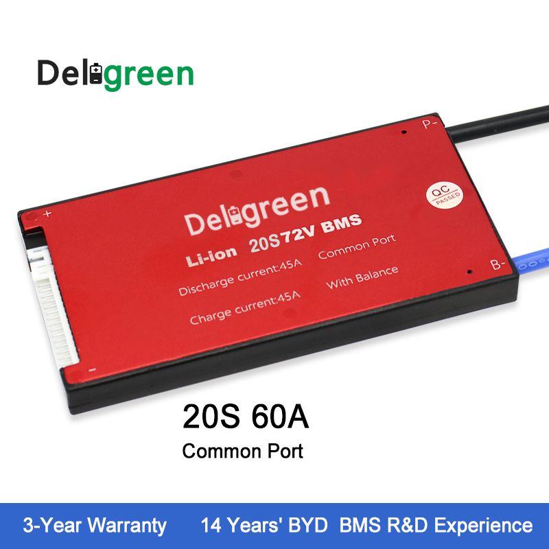Deligreen 20S 60A 72V PCM/PCB/BMS for lithium battery pack 3.7v rated 18650 Li-Po LiNCM Battery Pack