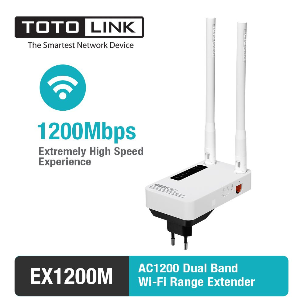 TOTOLINK EX1200M 11AC 1200Mbps Range Extender, WiFi Repeater, WiFi Booster with 2*5dBi External Antennas