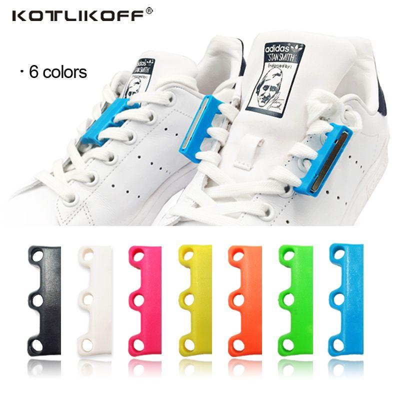 KOTLIKOFF 1 paire 6 Couleur Lacets Magnétique Lacet Boucle Paresseux Fermetures Lacet Chaussure Lacets Non à Cravate paresseux Chaussures lacets