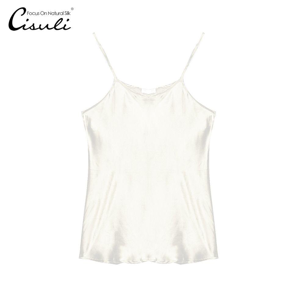 100% Soie Satin Camisole Naturel Soie Charmuse Satin Tissu Brillant Couleur Tissu De Soie Femmes Sous-Vêtements Taille Libre D'été Tops