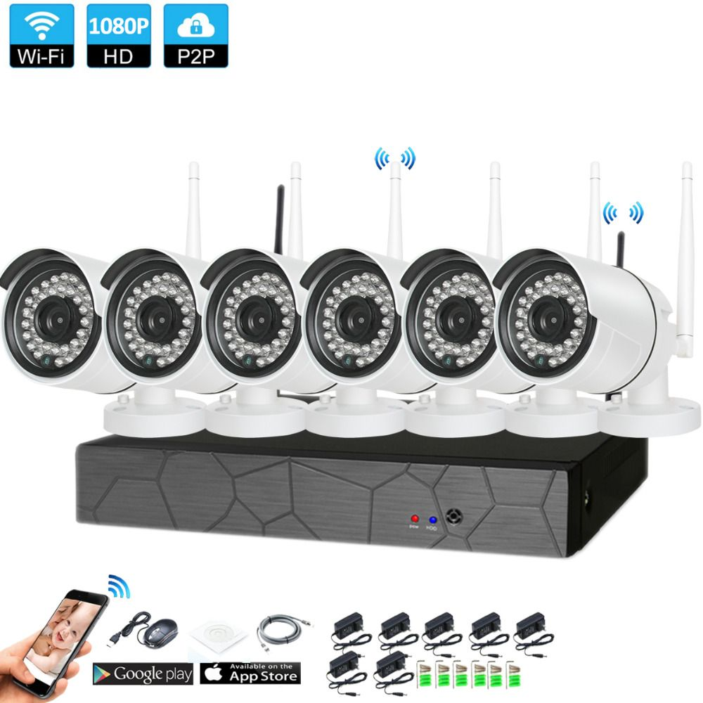 Plug and Play 6CH 1080P HD Wireless NVR Kit P2P 1080P Indoor Outdoor IR Night Vision Security 2.0MP IP Camera WIFI CCTV System