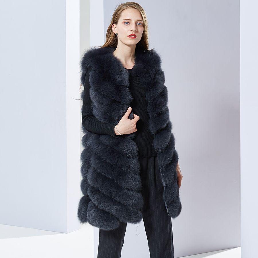 Women Real Fox Fur Vest Female Genuine Fox Fur Coat Leather Jacket Warm Autumn Winter Lady Gilet Natural Fox Fur Waistcoat long