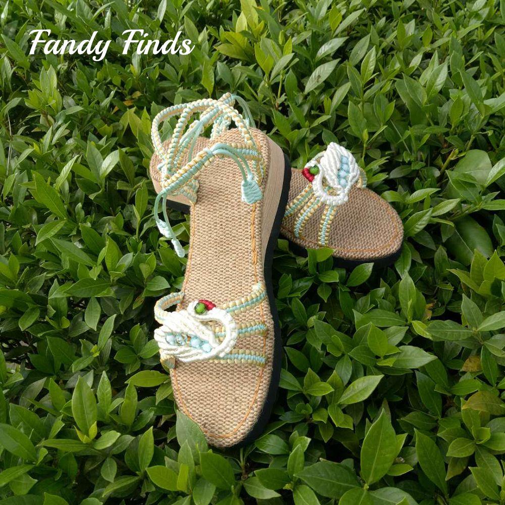 Fashion New Arrival Women Summer Sandals Swan Pattern Adjustable Hand-Woven Wedding Outwear Travel Wedges Handmade Girls Sandals