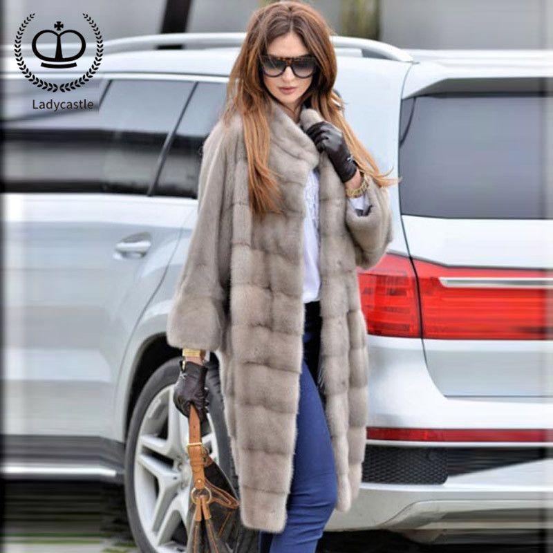 2018 New Arrival Real Mink Fur Coat Long Recommend Natural Full Pelt Women Real Mink Fur Jacket Genuine Women Outwear MKW-119