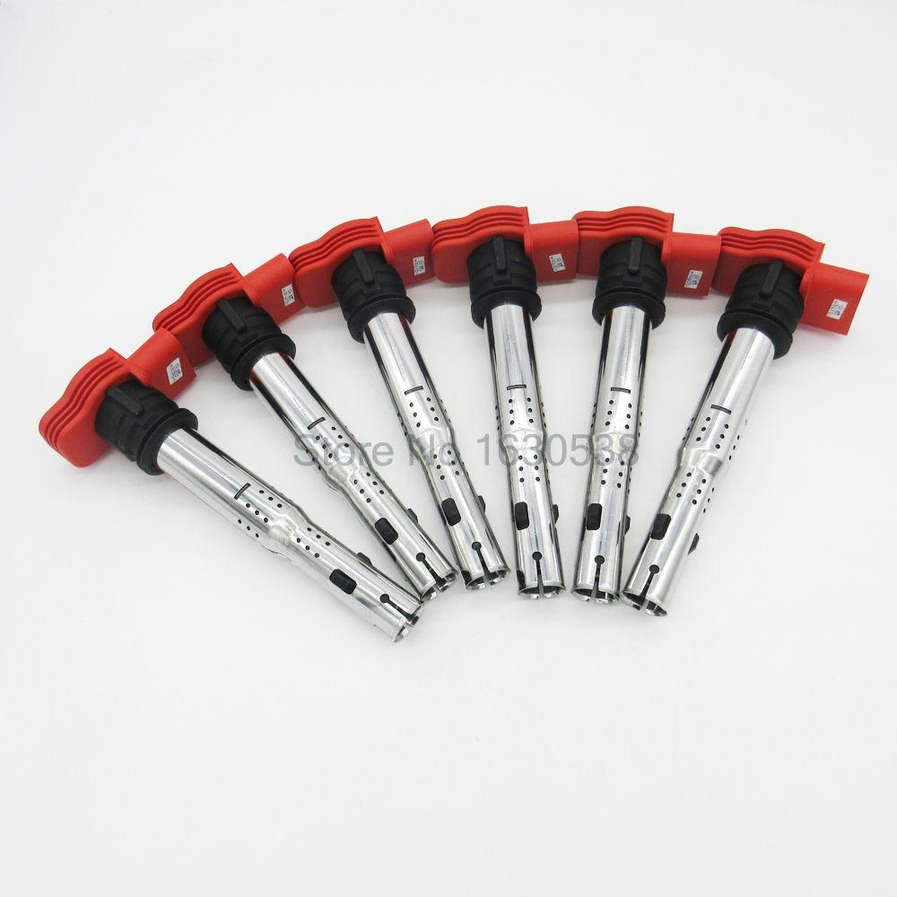 6pcs/lot Ignition Coil For Audi A4 A5 A6 A7 A8 Q5 Q7 R8 Quattro VW Touareg 2.4 2.7 2.8 3.0 3.2 TDI TFSI V6 06D905115 06E905115E