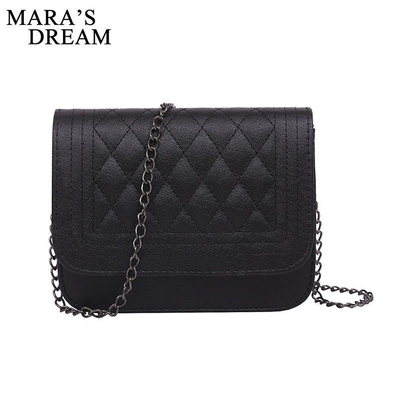 Mara's Dream 2017 PU Leather Women Messenger Bag Plaid Ladies Crossbody Bag Chain Trendy Candy Color Small Flap Shopping Handbag