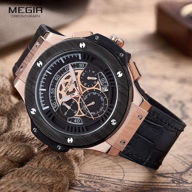 <font><b>MEGIR</b></font> Mens Watches Top Brand Luxury Men Military Sports Chronograph Luminous Wristwatch Leather Quartz Watch relogio masculino