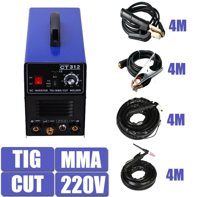 220V Single Voltage 3 In 1 Multifunction Welding Machine TIG ARC Welder Plasma Cutting CT312 With Free Accessory Free Shipping