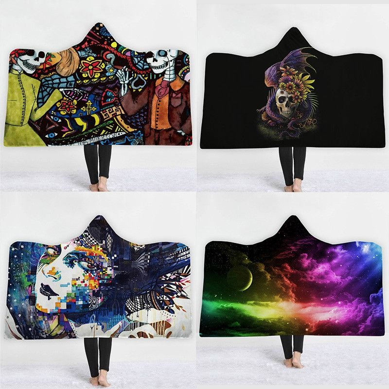 Fashion Sugar Skull Flower Hooded Blanket for Adults Floral Gothic Sherpa Fleece Wearable Throw Dream Catcher Blanket Microfiber