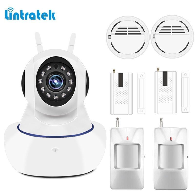 Home Alarm Systems Security Protection 433mhz IP wifi Surveillance Camera Wireless Door Motion Smoke Sensor Detector LINTRATEK