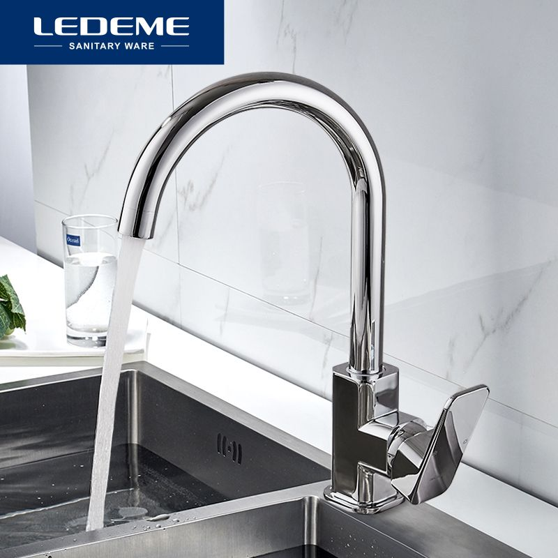 LEDEME Kitchen Faucet 360 Degree Rotation Rule Shape Curved Outlet Pipe Tap Basin Plumbing Hardware Brass Sink Faucet L4033-2