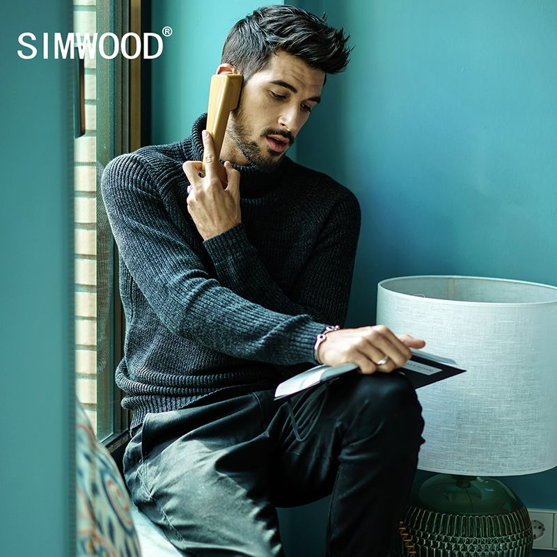 SIMWOOD 2018 Autumn Winter Sweater Men Pull Homme Slim Fit  Turtleneck  Brand Pullovers Black Knitted Sweater Plus Size MT017027
