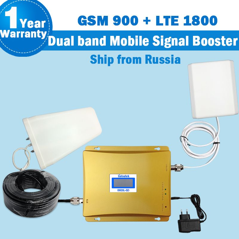 Ship from Russia 4G Repeater GSM 900 LTE 1800 Lintratek Dual band Mobile Signal Booster 10m cable 900+1800 Antenna full kit S19