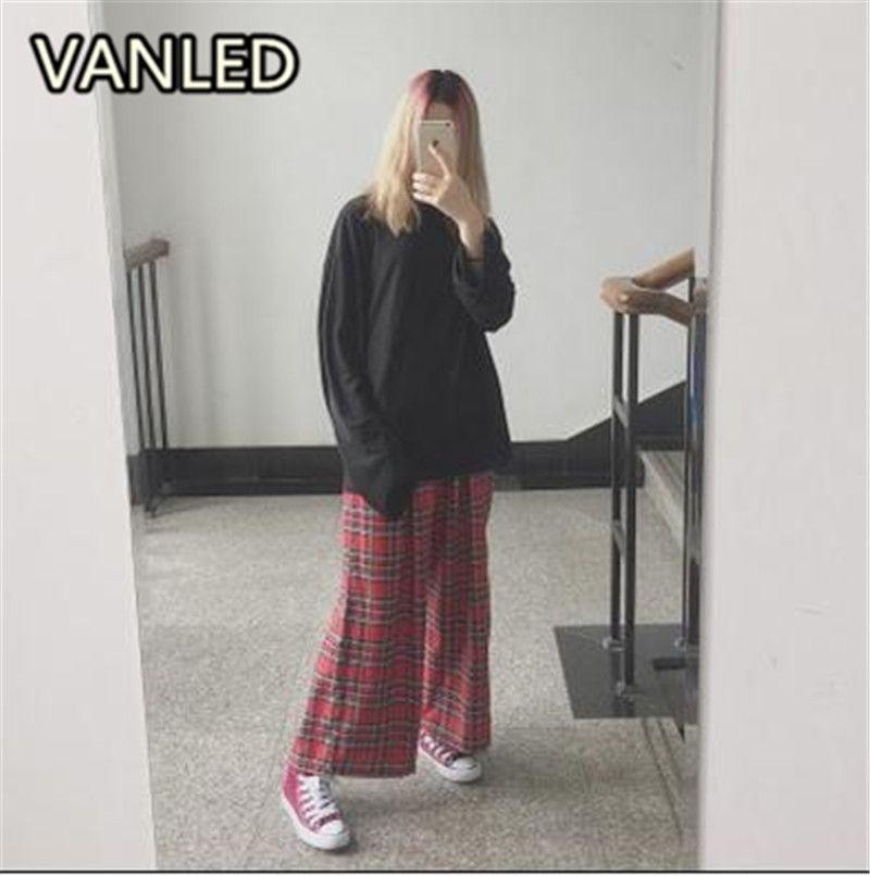 2017 Harajuku Street Punk Retro Scotland Wide Legged Pants Leisure Plaid Pants Customized Plus Size Couple Pants