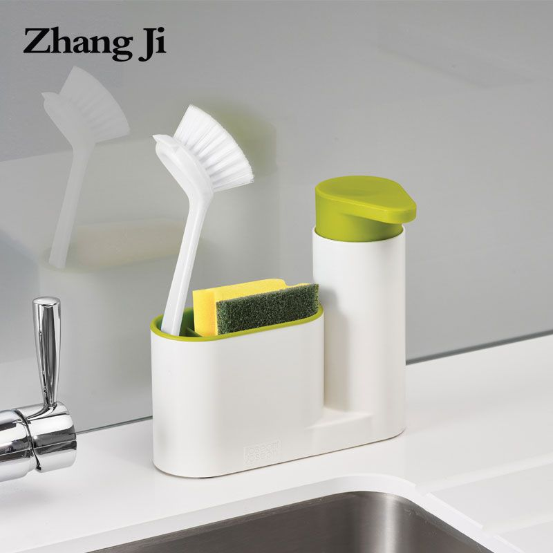 Zhangji Multifunction Sponge Storage Shelf Bathroom Portable Plastic Liquid Kitchen Soap Pump Sink Detergent Soap Dispenser